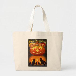 Halloween Retro Vintage Kids & Jack-o-lantern Jumbo Tote Bag