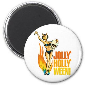 Halloween Retro Vintage Kitsch Holly Jolly Ween Magnet