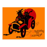 Halloween Retro Vintage Kitsch Jalopy Witch & Cat