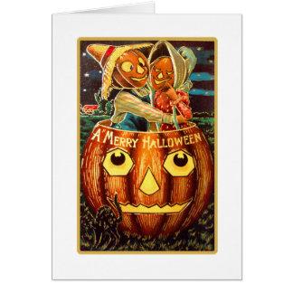 Halloween Retro Vintage Kitsch Pumpkin Sweethearts Card
