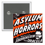 Halloween Retro Vintage Monsters Asylum of Horrors Pinback Buttons