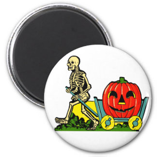 Halloween Retro Vintage Skeleton & Pumpkin Cart Magnet
