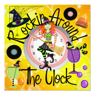 Halloween Rockin' Around the Clock Party - SRF 13 Cm X 13 Cm Square Invitation Card