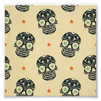 Halloween,rustic,skulls,black,pattern,vintage,tren Photographic Print
