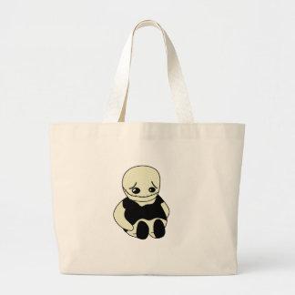 Halloween - sad monster large tote bag