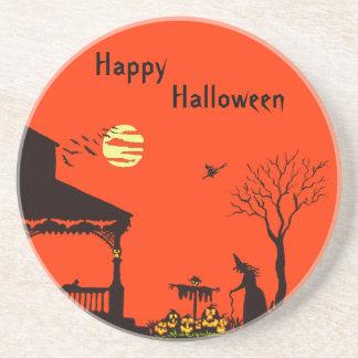 Halloween sandstone coaster,witches, scarecrow,bat coaster