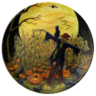 Halloween scarecrow in the cornfield party plate