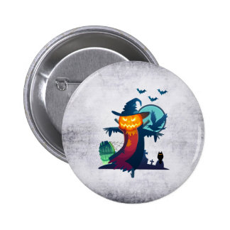 Halloween Scarecrow With Bats Crow And Owl 6 Cm Round Badge