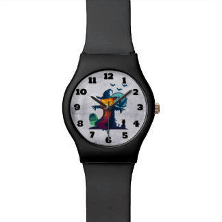 Halloween Scarecrow With Bats Crow And Owl Wristwatches