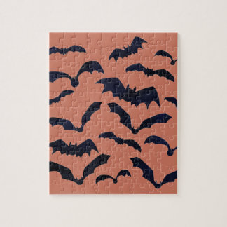Halloween Scary Black Bats Jigsaw Puzzle