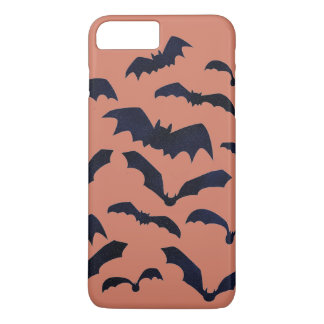 Halloween Scary Black Bats Orange iPhone Case
