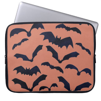 Halloween Scary Black Bats Orange Laptop Sleeve