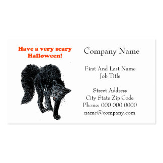 Halloween Scary Black Cat Cartoon Drawing Business Cards