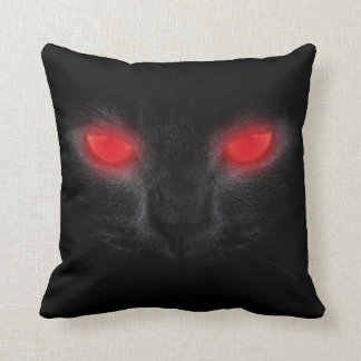 Halloween Scary Black Cat Red Glowing Eyes Pillow
