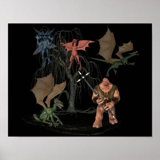 Halloween Scary Ogre Goblin Creatures Poster