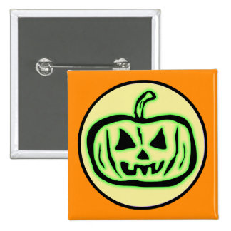 Halloween Scary Pumpkin Jack O Lantern 15 Cm Square Badge