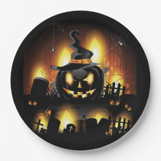 Halloween - Scary Pumpkins w/Hat All Options Paper Plate