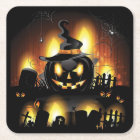 Halloween - Scary Pumpkins w/Hat All Options Square Paper Coaster
