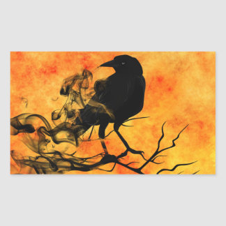 Halloween Scary Scene 11 The Raven Rectangular Sticker