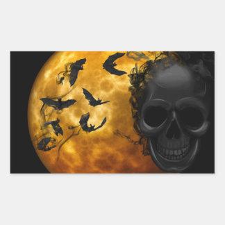 Halloween Scary Scene 12 BLK Skull & Bats Rectangular Sticker