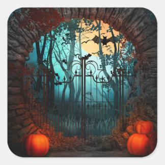 Halloween Scary Scene (2) - Customize Square Sticker