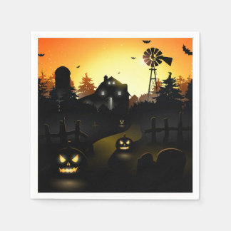 Halloween - Scary Scene 4 Windmill Paper Serviettes