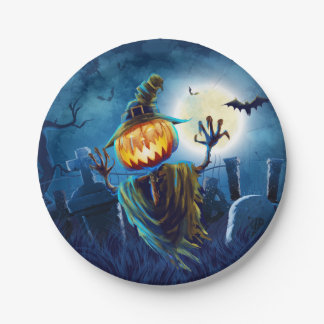 Halloween Scary Scene (5) Pumpkin Both Sizes Paper Plate