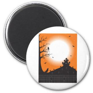 Halloween Scene 6 Cm Round Magnet