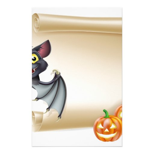 Halloween scroll with space stationery design