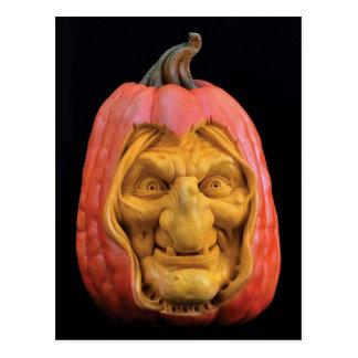 Halloween Sculpted Jack-O'-Lantern Witch Postcard