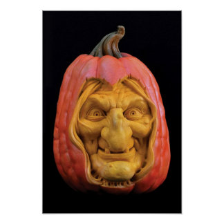 Halloween Sculpted Jack-O'-Lantern Witch Poster