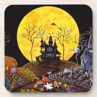 Halloween set of cork backed coasters,ghosts beverage coasters