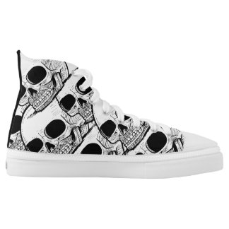 Halloween Shoes: Skulls Drawing High Tops Printed Shoes