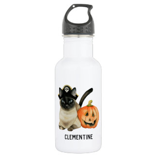 Halloween Siamese Cat | Add Your Name 532 Ml Water Bottle