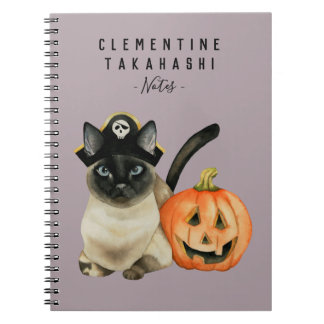 Halloween Siamese Cat | Add Your Name Notebook