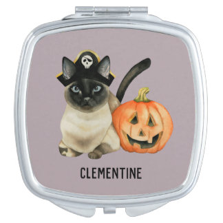 Halloween Siamese Cat | Add Your Name Vanity Mirror