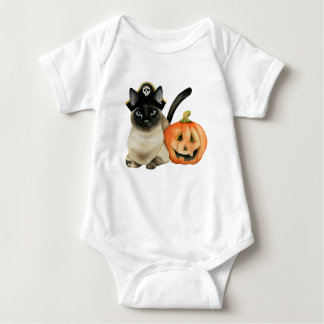 Halloween Siamese Cat with Jack O' Lantern Baby Bodysuit