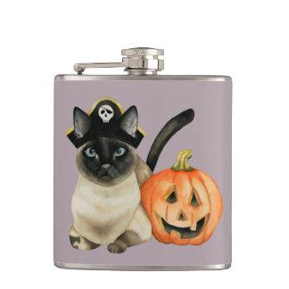 Halloween Siamese Cat with Jack O' Lantern Hip Flask