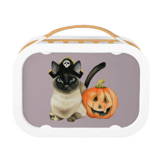 Halloween Siamese Cat with Jack O' Lantern Lunch Box