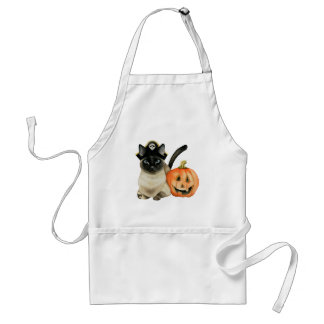 Halloween Siamese Cat with Jack O' Lantern Standard Apron