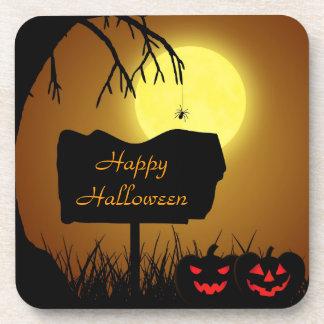 Halloween Silhouette Sign - Plastic Coaster