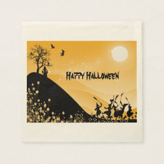 Halloween silhouette witches disposable napkins