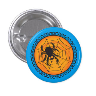 Halloween Silhouettes Spider and Web Badge