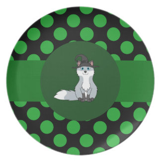 Halloween Silver Fox with Witch Hat & Polka Dots Plate