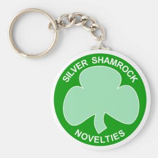 Halloween Silver Shamrock Logo Basic Round Button Key Ring