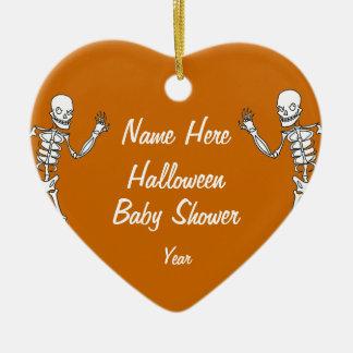 Halloween Skeleton Baby Shower Heart Ornaments