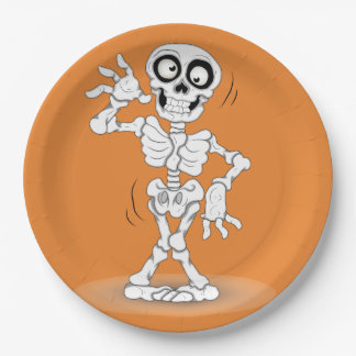 Halloween Skeleton Background Paper Plate