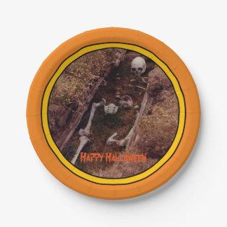 Halloween Skeleton Bones Scary Photo Designed 7 Inch Paper Plate