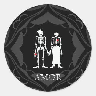 Halloween Skeleton Couple Bride & Groom Round Sticker