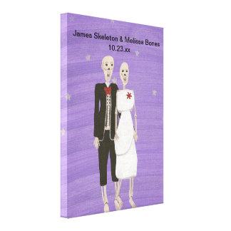 Halloween Skeleton Couple Wedding Wrapped Canvas